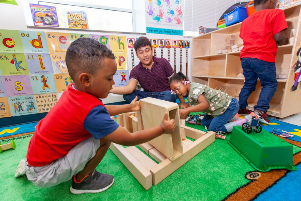 young children play with blocks at Durham PreK