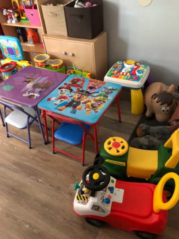 Inside Shining Stars features tables, chairs and toys for small children