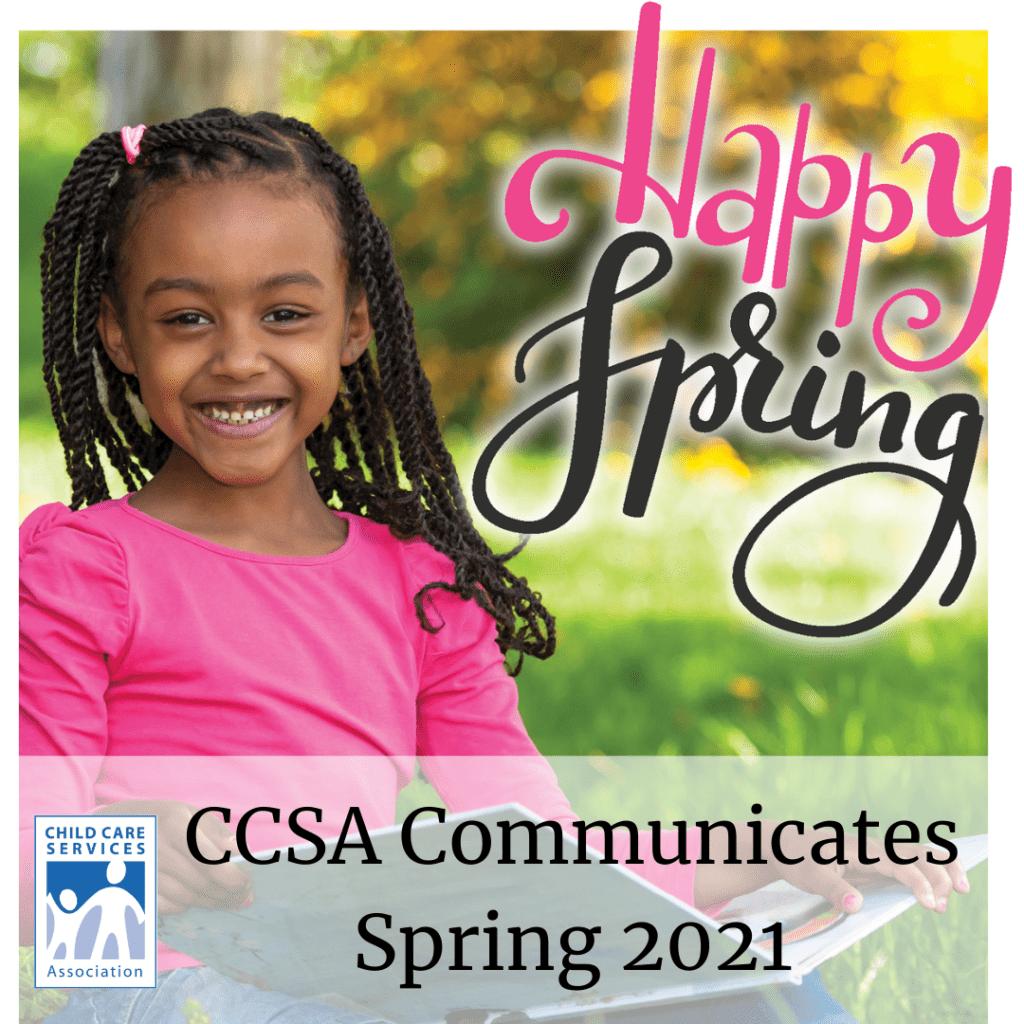 spring newsletter graphic smiling little girl