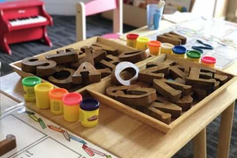 Wooden block letters in a basket